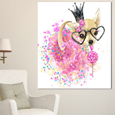 Design Art Cute Dog With Crown And Glasses Contemporary Animal Art Canvas - 3 Panels