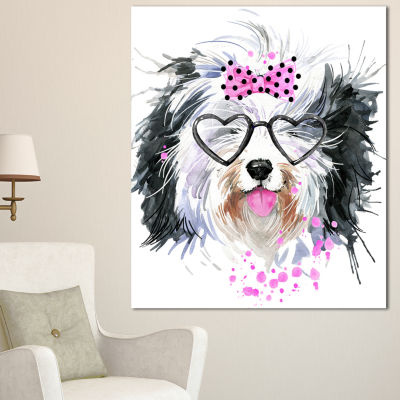 Design Art Cute Dog With Heart Glasses ContemporaryAnimal Art Canvas
