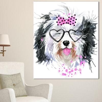 Designart Cute Dog With Heart Glasses ContemporaryAnimal Art Canvas - 3 Panels