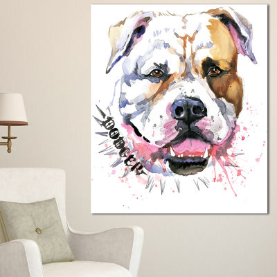 Designart Cute Dog With Open Mouth Animal CanvasWall Art - 3 Panels