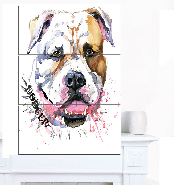 Design Art Cute Dog With Open Mouth Animal CanvasWall Art - 3 Panels