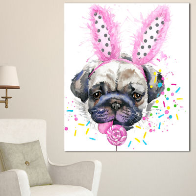 Designart Cute Dog With Pink Feather Hat Contemporary Animal Art Canvas - 3 Panels
