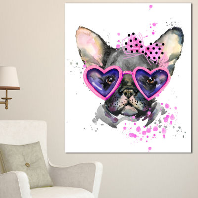 Designart Cute Dog With Pink Glasses Animal CanvasWall Art