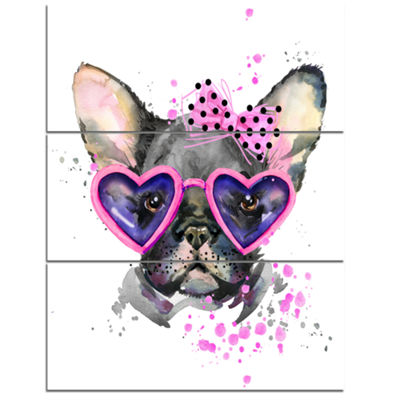 Designart Cute Dog With Pink Glasses Animal CanvasWall Art - 3 Panels