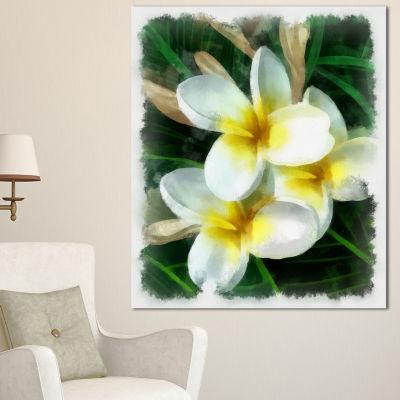 Design Art Cute Frangipani Flowers Watercolor Floral Canvas Art Print