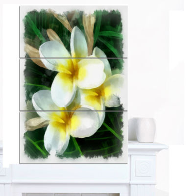 Designart Cute Frangipani Flowers Watercolor Floral Canvas Art Print - 3 Panels