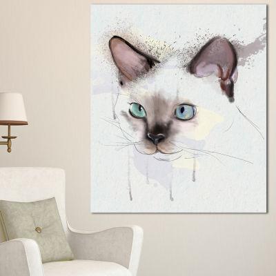 Designart Cute Hand Drawn Cat Watercolor Animal Canvas Art Print