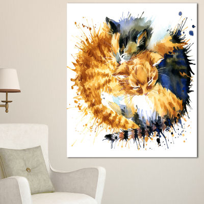 Design Art Cute Kitten Graphical Illustration Animal Canvas Wall Art - 3 Panels