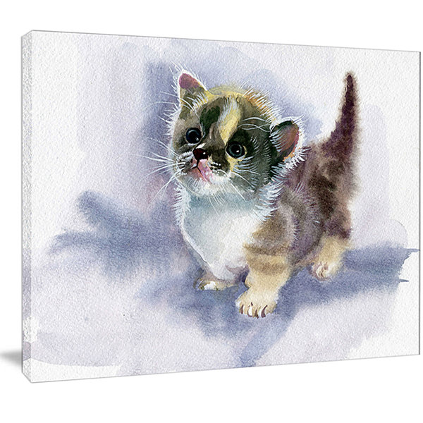 Designart Cute Kitten On Blue Watercolor Animal Canvas Art Print