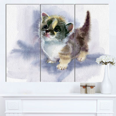 Designart Cute Kitten On Blue Watercolor Animal Canvas Art Print - 3 Panels