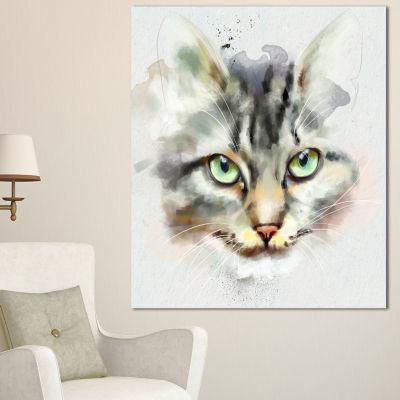 Designart Cute Kitten Watercolor Hand Drawn LargeAnimal Canvas Artwork