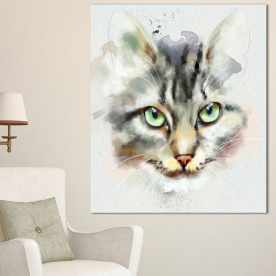 Designart Cute Kitten Watercolor Hand Drawn LargeAnimal Canvas Artwork