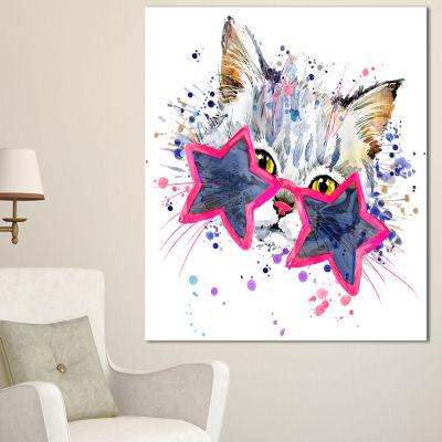 Designart Cute Kitten With Blue Stars Animal Canvas Wall Art