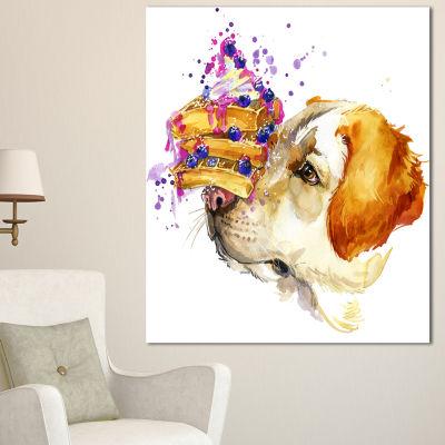 Designart Cute Labrador Dog Watercolor Animal Canvas Wall Art - 3 Panels
