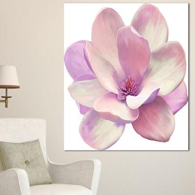 Designart Cute Light Pink Magnolia Flower FlowersCanvas Wall Artwork - 3 Panels