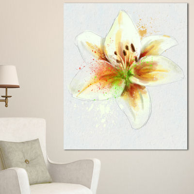Designart Cute Lily Flower Watercolor Sketch Flowers Canvas Wall Artwork