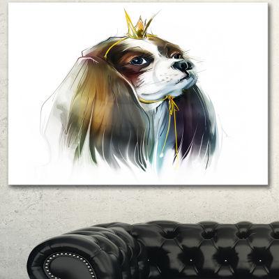 Designart Cute Little Dog In Crown Animal CanvasArt Print
