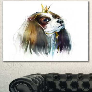 Designart Cute Little Dog In Crown Animal CanvasArt Print