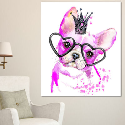 Designart Cute Pink Dog With Heart Glasses Contemporary Animal Art Canvas
