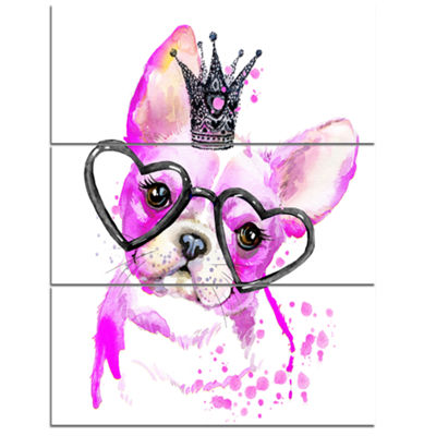 Designart Cute Pink Dog With Heart Glasses Contemporary Animal Art Canvas - 3 Panels