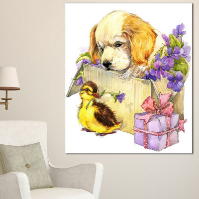 Designart Cute Puppy Dog And Duck Contemporary Animal Art Canvas - 3 Panels