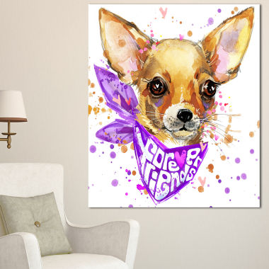 Design Art Cute Puppy Dog With Neck Shawl Contemporary Animal Art Canvas