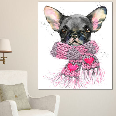Designart Cute Puppy Dog With Pink Shawl Animal Canvas Wall Art - 3 Panels