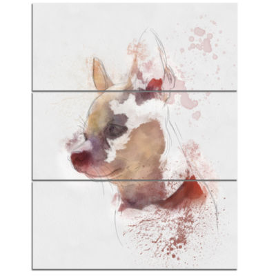 Designart Cute Puppy Portrait Watercolor OversizedAnimal Wall Art - 3 Panels