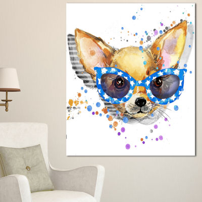 Designart Cute Puppy With Blue Glasses Animal Canvas Wall Art - 3 Panels