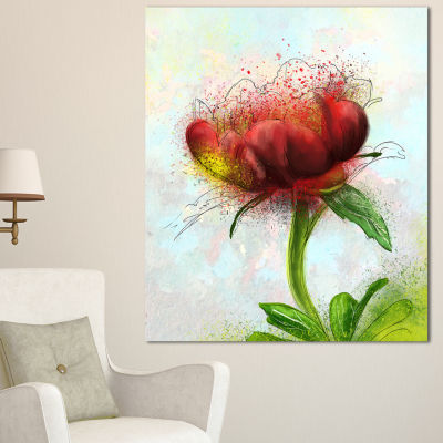 Designart Cute Red Green Watercolor Flower FloralCanvas Art Print