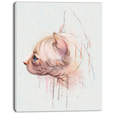 Designart Cute Sphinx Watercolor Illustration Large Animal Canvas Artwork