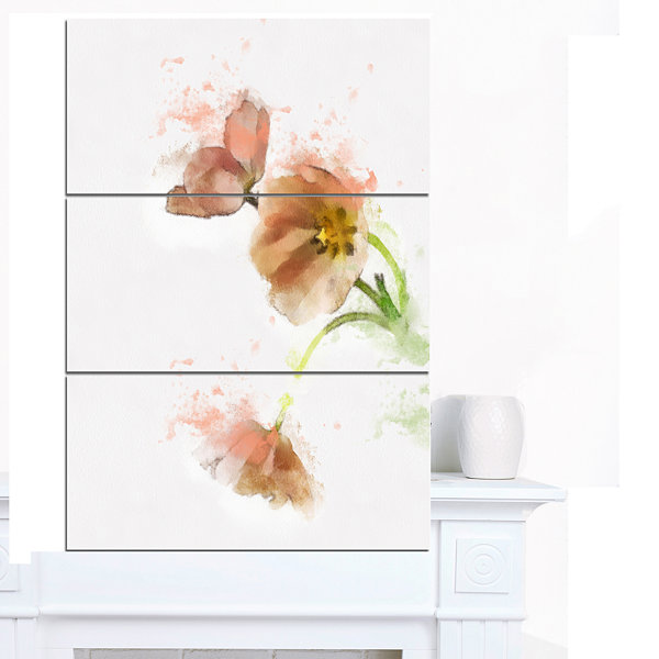 Design Art Cute Tulips Illustration Watercolor Floral Canvas Art Print - 3 Panels