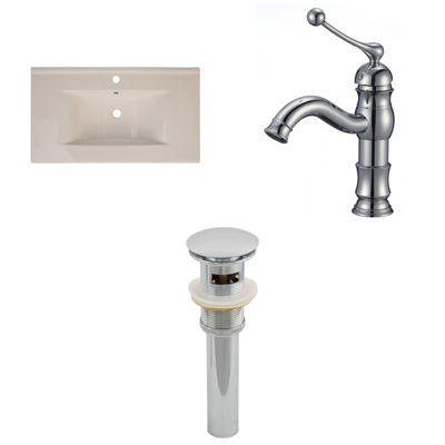 American Imaginations Ceramic Top Set In Biscuit Color With Single Hole CUPC Faucet And Drain