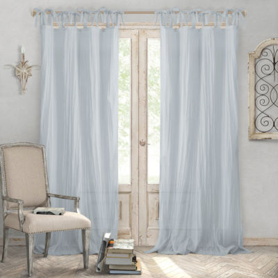 Elrene Jolie Crushed Semi-Sheer Curtain Tie-Top Curtain Panel