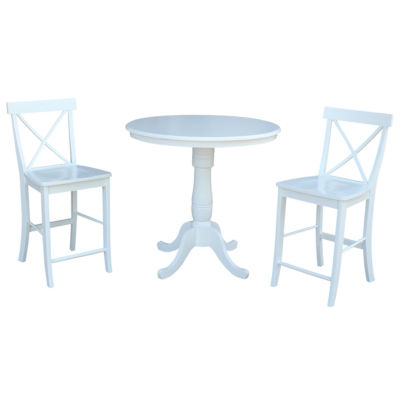 International Concepts Round Gathering Height Table with X-Back Stools