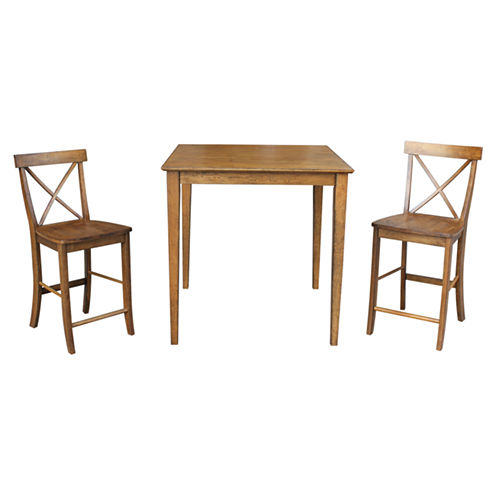 """36""""x36"""" Counter Height Dining Table with 2 X-Back Counter Height Stools"""