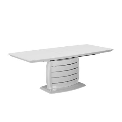 Extendable Dining Table In White Glossy And Stainless Steel