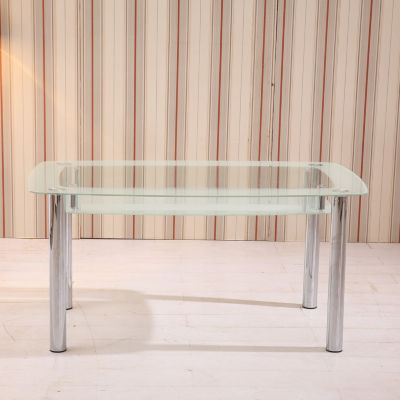Rectangular Oval Glass Dining Table