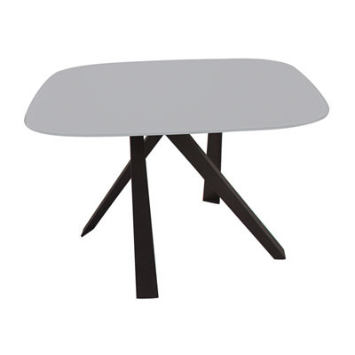 Modern Dining Table In Grey Glass And Black Legs