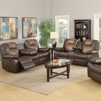 Jordana Two-Tone Brown Bonded Leather Recliner Sofa