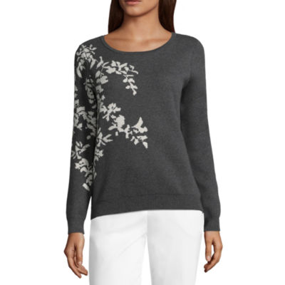 Liz Claiborne Womens Scoop Neck Long Sleeve Floral Pullover Sweater