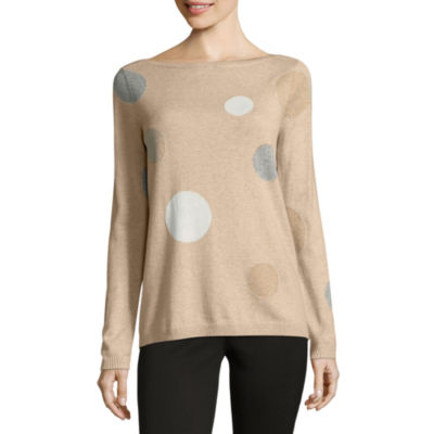 Liz Claiborne Long Sleeve Boat Neck Dots Pullover Sweater
