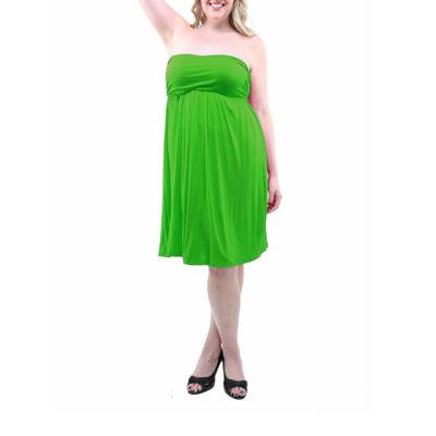 24/7 Comfort Apparel Strapless Empire Waist Dress-Plus