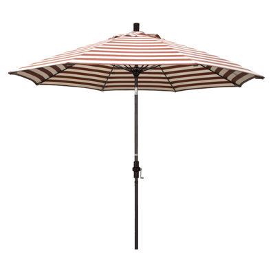 California Umbrella 9' Sun Master Series Stripe Olefin Patio Umbrella With Bronze Aluminum Pole Fiberglass Ribs Collar Tilt Crank Lift
