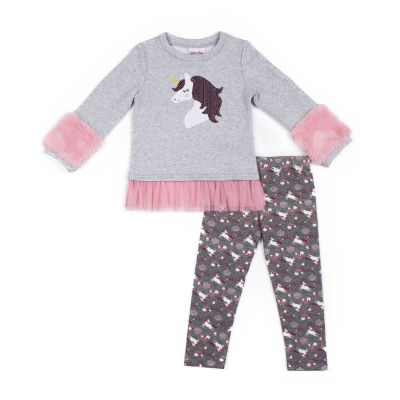 Little Lass 2-pc Unicorn Fleece Legging Set-Baby Girls