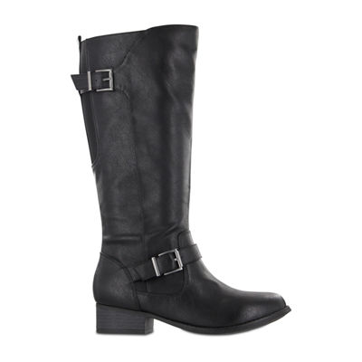 Mia Amore Womens Lolaa Block Heel Zip Riding Boots