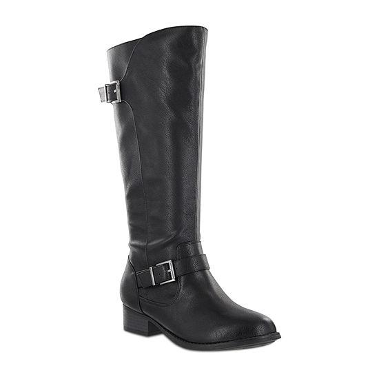 Mia Amore Lolaa Womens Block Heel Zip Wide Riding Boots