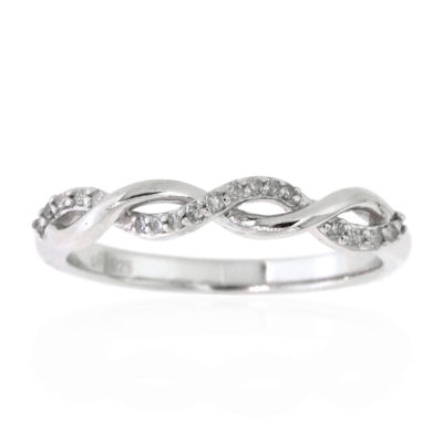 Womens 2.5MM 1/10 CT. T.W. Genuine Diamond Sterling Silver Band