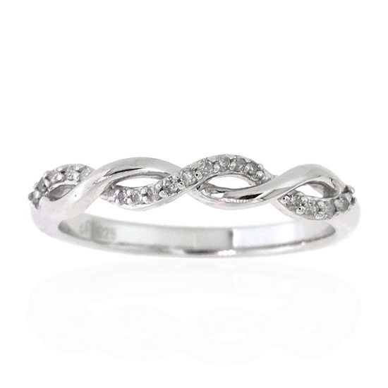 2.5MM 1/10 CT. T.W. Genuine Diamond Sterling Silver Band