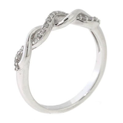Womens 1/10 CT. T.W. Genuine Diamond Sterling Silver Band